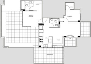 Small Two Bedroom Penthouse Floor Plan
