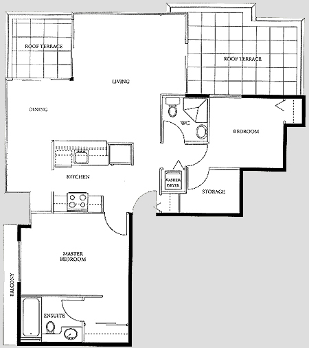 Two Bedroom Penthouse Suite Floor Plan